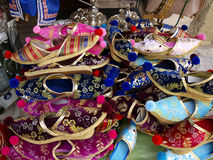 Shoes, footwear on the market stall in Mostar Stock Image