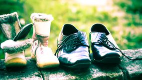 Shoes for free to help the poor royalty free stock images
