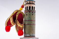 Shoes on the Galata Tower. Turkish footware on the Galata Tower royalty free stock photos
