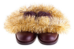 Shoes with garland Royalty Free Stock Image