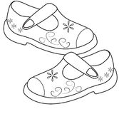 Shoes for girls coloring page Stock Photo