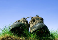 Shoes on grass Stock Image
