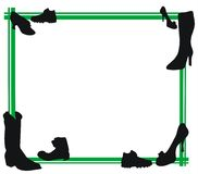 Shoes and green frame. White background with green frame and mixed shoe shapes Royalty Free Stock Images