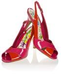 shoes hög red s för bakgrundshälet vita kvinnor Royaltyfri Fotografi