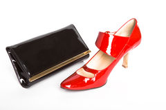 Shoes and  handbag Stock Photos