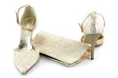 Shoes and handbag. Stylish shoes and handbag isolated on a white background Stock Image