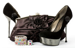 Shoes, handbag and jewelry Stock Images