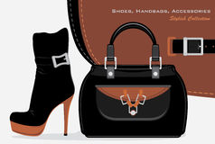 Shoes, Handbags And Accessories. Collection Royalty Free Stock Photos