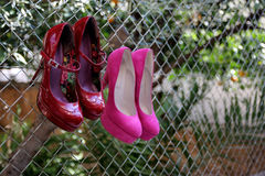 Shoes. Hanging in the back yard Royalty Free Stock Images