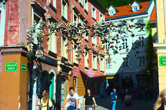 Shoes hanging in the Old Town of Ljubljana Royalty Free Stock Photography