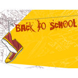 Shoes hanging on wire background. Back to school Stock Images