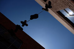 Shoes hanging from wire in Laneway Stock Photo