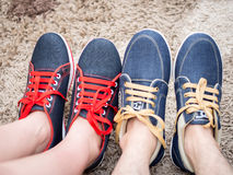 Shoes of Happy Couple Royalty Free Stock Photos
