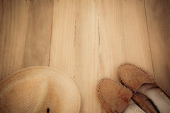 Shoes and hat Stock Images