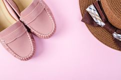 Shoes and hat women. Royalty Free Stock Photo