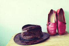 Shoes and hat for women Stock Photography