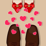 Shoes and hearts Stock Images