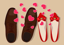 Shoes and hearts Royalty Free Stock Photo