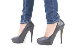 Shoes with heels. Walking with high heel shoes stock photography