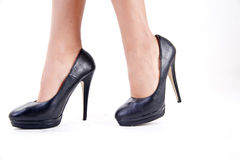 Shoes with heels. Walking with high heel shoes royalty free stock photos