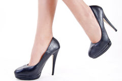 Shoes with heels. Walking with high heel shoes royalty free stock image