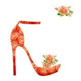 Shoes on a high heel decorated with roses. Royalty Free Stock Photo
