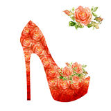 Shoes on a high heel decorated with roses. Stock Photos