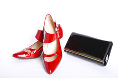 Shoes on a high heel and  handbag Royalty Free Stock Photo