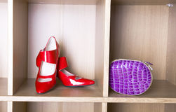 Shoes on high heel and a purse Stock Images