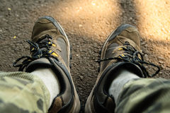 Shoes for hiking and travelling Royalty Free Stock Photos
