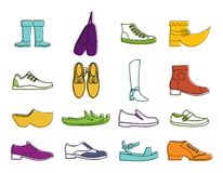 Shoes icon set, color outline style. Shoes icon set. Color outline set of shoes vector icons for web design isolated on white background Stock Photo