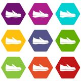 Shoes icon set color hexahedron Stock Photo
