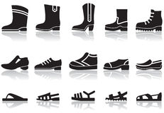Shoes icons. Set of icons of men's shoes Stock Photos