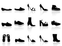 Shoes icons. Isolated black shoes icons from white background Royalty Free Stock Image