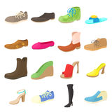 Shoes icons set, cartoon style Royalty Free Stock Photography