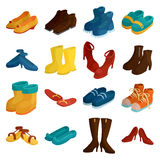 Shoes icons set, cartoon style Royalty Free Stock Image