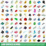 100 shoes icons set, isometric 3d style Stock Photography