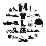 Shoes icons set, simple style. Shoes icons set. Simple set of 25 shoes vector icons for web isolated on white background Stock Photography
