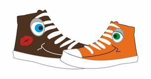 Shoes illustration. Vector illustration of a couple shoes in white background Royalty Free Stock Images