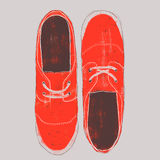 Shoes illustration. Hand drawn red sneakers, top view Royalty Free Illustration