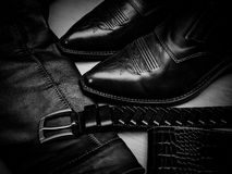 Shoes, jacket and belt, are made of a genuine leather Royalty Free Stock Photography