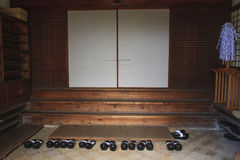 Shoes at Japanese temple entrance. Japan Royalty Free Stock Images