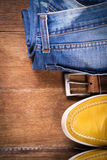 Shoes,jeans and strap Royalty Free Stock Photo