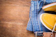 Shoes,jeans and strap Royalty Free Stock Images