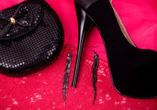 Shoes, jewelry and handbag Stock Image