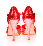 Shoes for ladies in high heels isolated on a white background. Royalty Free Stock Images