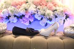 The Shoes. Shoes ladies white highills wedding Stock Photo