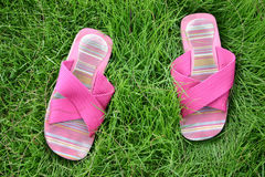Shoes in Lawn. Summer in Thailand Stock Photo