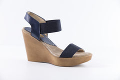 Shoes leather. Beautiful Elegance and Luxury Leather Azul Femme Shoe on White Background Royalty Free Stock Images