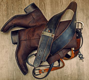 Shoes with leather belt Stock Photos